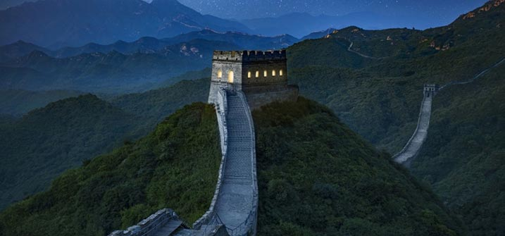 the great wall china night view